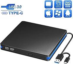 BlueFire External CD DVD Drive, Slim USB C Laptop Drive Portable External Disc Drive, High Speed Data Transfer USB 3.0 Type-C Optical Drive, Compatible with Laptop MacBook iMac PC Window 10/8/7 Linux