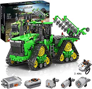 PHYNEDI 1:18 Simulation 2.4G Electric RC Track Tractors Vehicle Model Bricks Set Compatible with Lego, MOC DIY Assembly Small Particle Building Block Construction Toy Kit (1,706 Pieces)