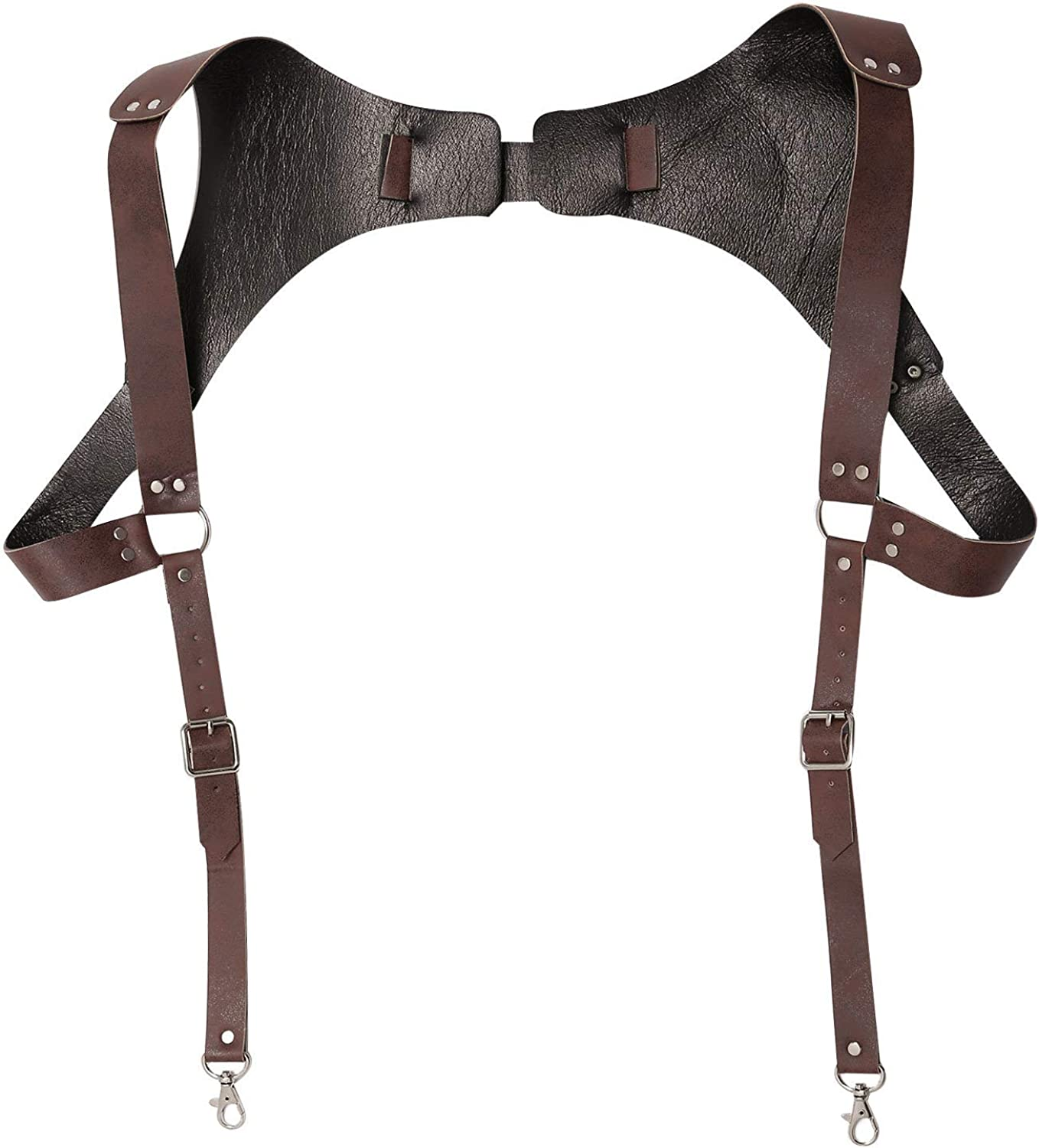 winying Vintage Renaissance Adjustable Men's Leather Suspenders with Heavy Duty Strong Metal Clips for Men Club Role Play