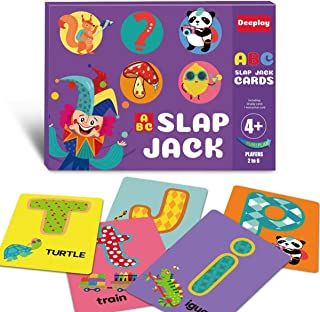ABC Slap Jack Flash Card Letters Animal Food Learning Memory Matching Card Game