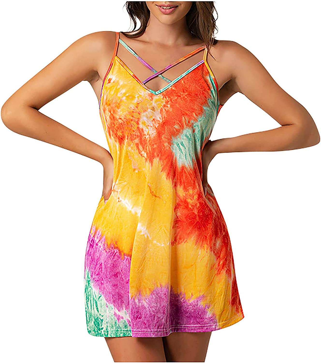 Astrid Sexy Summer Women Fashion Tie-Dyed Printing Camisole Vest Top Dress Two Wear