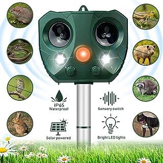 Repelente de Gatos, Ahuyentador de Gatos, 5 Modos Ajustables, Repelente Ultrasónico Animales Carga Solar y USB, Ahuyentador por Ultrasonido para Gatos con LED Que Destella, para Gatos, Perros, Ratones
