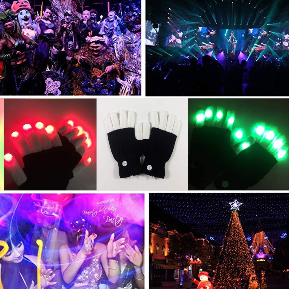 Skeleton Gloves Led Gloves Kids White, Adult Light Up Gloves Finger Light Magic Toys Gift Stocking Stuffers for Boys Girls Age from 5 To 10 Christmas Thanksgiving Birthday Glow Party Favor