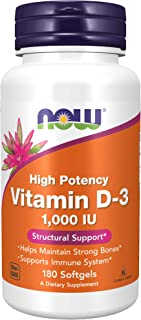 Now Food High Potency 1000 Iu Vitamin D-3, 180 Soft Gels