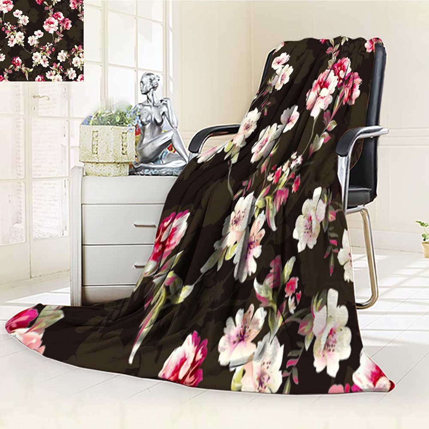 Decorative Throw Blanket UltraPlush Comfort Pattern with Spring Flowers Pattern with Spring Flowers with Branch on Black ba Soft, colorful, Oversized   Home, Couch, Outdoor, Travel Use(60 x 50 )