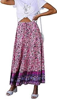 تنورة نسائية بطول نصف طول تنورة طويلة بنمط صيفي بطبعة مطاطا عادية عالية المرونة بخصر مطاطي Two Seats