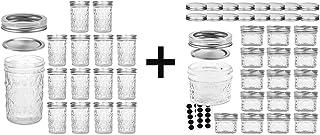 VERONES 15 PACK 8 OZ Mason Jars &16 PACK 4 OZ Mason Jars Jelly Jars With Regular Lids, Ideal for Jam, Honey, Wedding Favor...