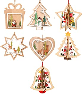 Junhe Christmas Ornaments, Christmas Wooden Hanging Ornaments Christmas Tree Snowflake Bells Shape Stereoscopic Hollow Out...