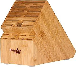 20 Slot Universal Knife Block: Shenzhen Knives Large Bamboo Wood Knife Block without Knives - Countertop Butcher Block Kni...