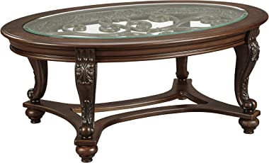 Signature Design by Ashley Norcastle Vintage Oval Coffee Table with Beveled Glass Top & Scrollwork Legs, Dark Brown