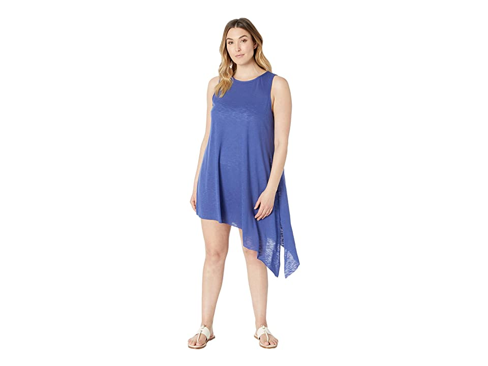 BECCA by Rebecca Virtue Plus Size Keyhole Dress Cover-Up (Blue Topaz) Women