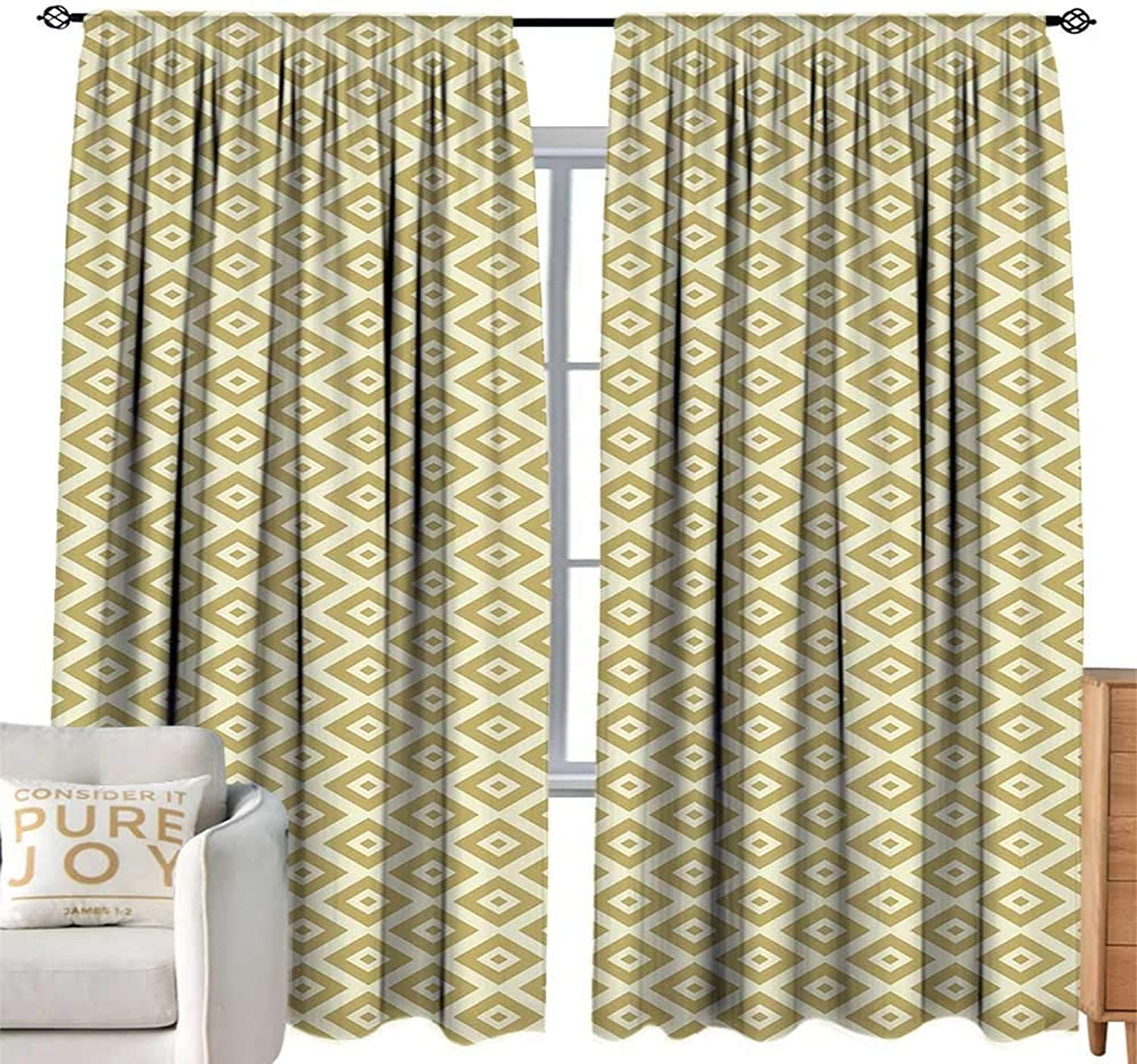 CobeDecor Extra Long Curtain Geometric Oriental Squares and Rectangles Dots Abstract Soft colord Middle Eastern Pale Yellow Khaki Soft Texture W96 xL84