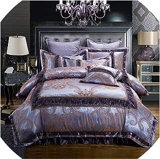 Bedspreads Golden Red Wedding Bedding Set King Queen Size Cotton Stain Bed Set Duvet/Quilt Cover Thick Bed Skirt Set Pillow,Color 9,Full Size 4Pcs,Kingsize6Pcs,Color8