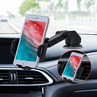 Zmoon 車載ホルダー カーブラケットスマー スマートフォンスタンド 兼用吸盤と排気口の2種類/伸縮アーム/ 360度回転/吸盤は2つのギアに分けることができます/角度は自由に調整可能 (サイズ 02)