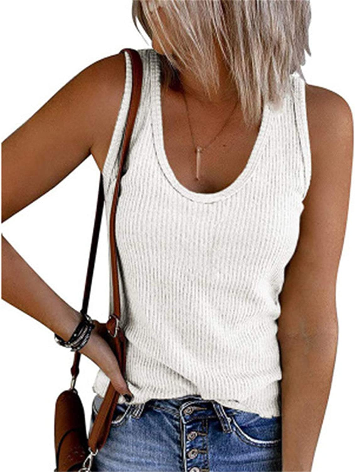 Womens V Neck Tank Tops Ribbed Sweater Vest Knit Sleeveless Casual Pullover Sweaters Shirts Blouse (White,Small)