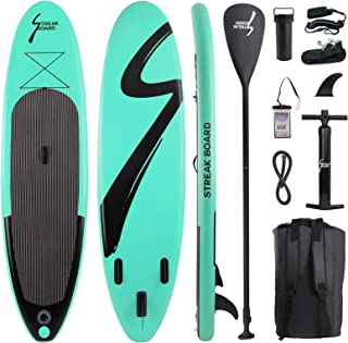 streakboard Inflatable Stand Up Paddle Board Surfing SUP Boards, No Slip Deck 6 Inches Thick ISUP Boards with Free SUP Acc...