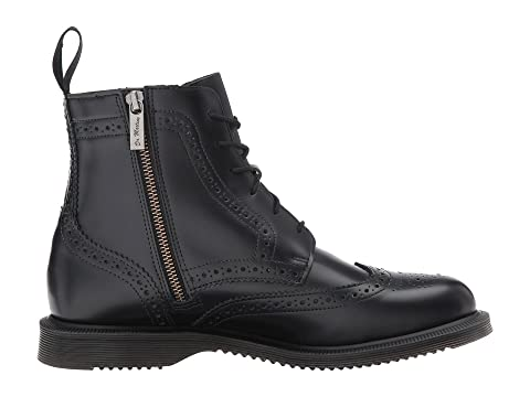 Dr Red Boot Delphine Brogue 6 Eye SmoothCherry Arcadia Martens Polished Black zFSnrqxz