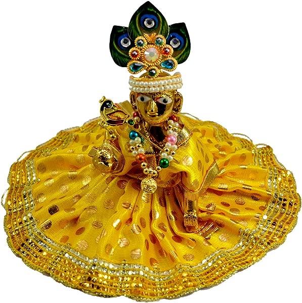 手工雕刻 Laddu Gopal 婴儿 Krishna 树脂偶像雕塑雕像尺寸 3 英寸
