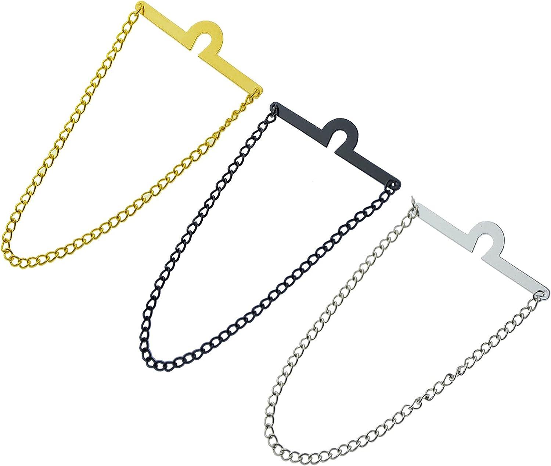 Men's Tie Chain Fashion Necktie Link Noble Necktie Chains for Business Wedding Pack of 3