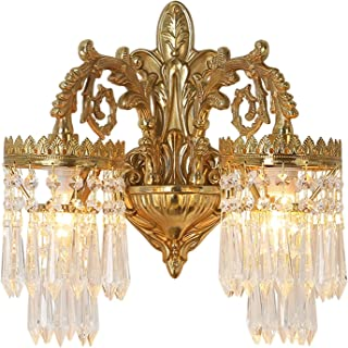 Sconce/Wall Sconces Wall Lamp Double Head European Copper Crystal Wall Lamp Creative Staircase Bedroom Living Room Backgro...