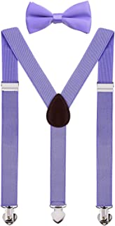WDSKY Mens Kids Suspenders and Bow Tie Set Adjustable for Wedding