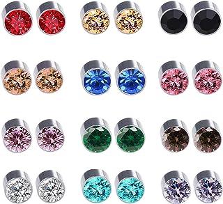 Spiritlele 12 Pairs Colors Crystal Leopard Flower Face Magnetic Clip Non Piercing Earrings Set