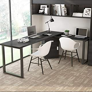 Tribesigns Rotating L-Shaped Computer Desk, 55 Inches Modern Corner Computer Desk Large Study Executive Office Desk Writing Table with Storage File Cabinet for Home Office (Black)