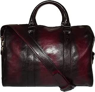 of Florence Women's Vintage Italian Leather Satchel Handbag Antique Merlot
