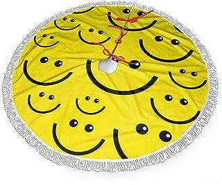 Guduss Christmas Tree Skirt,Happy Index Smiley Face Large Xmas Tree Skirts with Fringed Lace 48