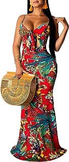 SheKiss Women's Summer Floral Spaghetti Strap Long Maxi Dresses Low-Cut Bohemian Beach Sundress