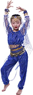 Girl`S Belly Dance Costumes,Long Sleeve Highlights Top,Pants