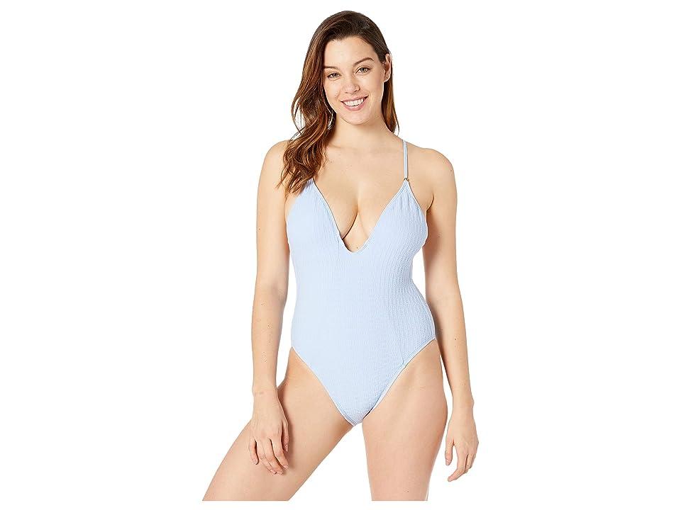 Lucky Brand Shoreline Chic Plunge One-Piece (Ocean Air) Women