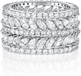 GEMSME 14K Gold Plated Marquise Cubic Zirconia Eternity Statment Ring for Womrn