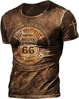 kewing American Route 66 Biker Moto T-Shirt Uomo Retro Stampa Girocollo Magliette Maniche Corte