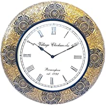 Apka Mart The Online Shop Vinatge Wood & Brass Wall Watch 18 Inches for Wall Décor & Gifts