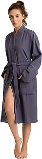 Soft Touch Linen Luxurious 100% Turkish Cotton Women's Waffle Robe. Long, Lightweight, Absorbent