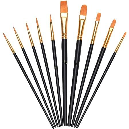 Pinselset Malen Kinder,12 Malpinsel Künstlerpinsel hölzerner 1 Mischpalette