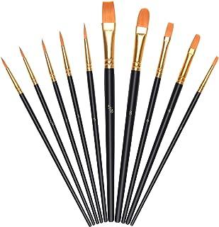 Vicloon Pennelli da Pittura, 10 Pezzi Pennelli per Dipingere di Nylon, Artista Pennello Set di Acrilico Acquerello e Pittu...