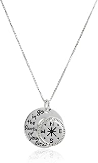 """Sterling Silver """"Go in the Direction Of Your Dreams"""" with Compass Pendant Necklace, 18"""""""