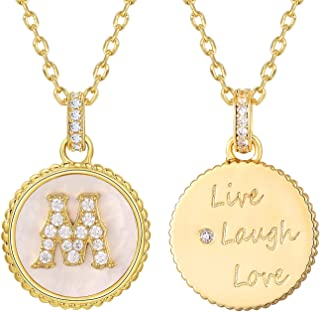 """18k Gold Plated Initial Necklace with Personalized Alphabet Letter Pendant, Round Disc Double Side Engraved Hammered Name Necklace, 17+2"""""""