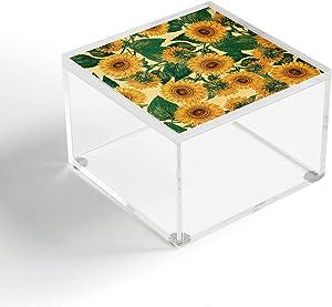 "Society6 Burcu Korkmazyurek Helianthus Annuus Acrylic Box, 4"" X 4"", Yellow"