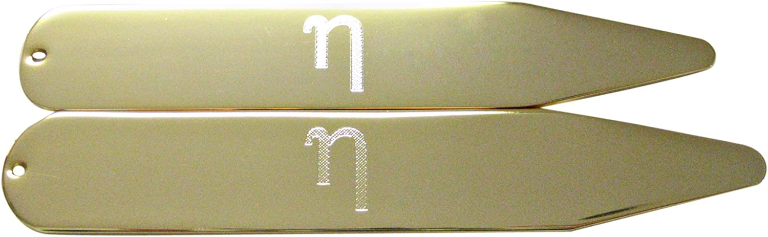 Gold Toned Etched Greek Letter Eta Collar Stays