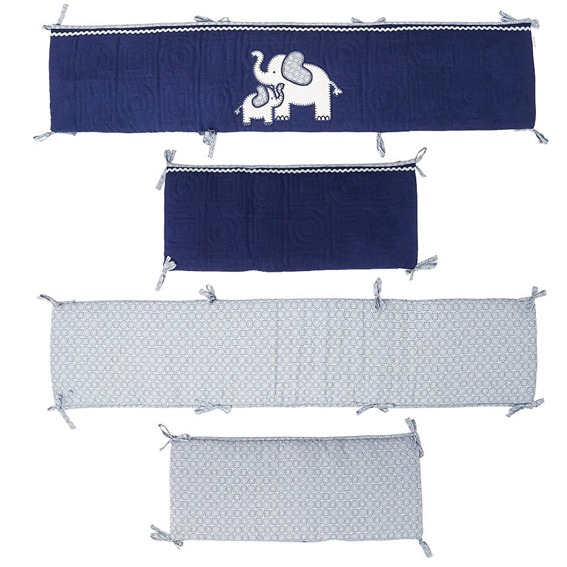 Koala Baby First Love 4 Piece Crib Bumper Set - Elephant - Navy/Light Blue