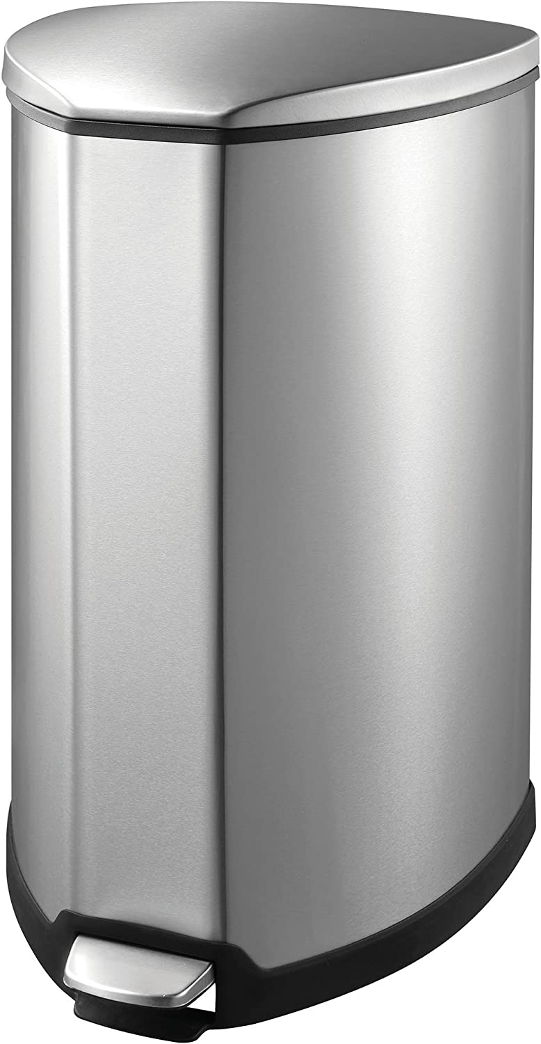 EKO 92090-1 Grace 1.25 Gallon Stainless Steel Step Trash Can with Lid