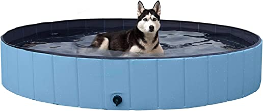 YAHEETECH Foldable Hard Plastic Extra Large Dog Pet Bath Swimming Pool Collapsible Dog Pet Pools Bathing Tub Paddling Pool for Large Pets Dogs Cats, Black/Blue/Gray/Red, XXL/XL/L/M