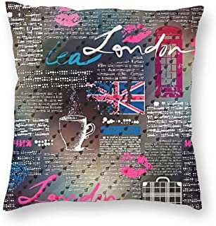 SARA NELL Velvet Square Pillow Cushion Cover,Collage of Grunge Newspaper London with Raindrops Cushion Covers Home Decorative Throw Pillowcases 18x18inch