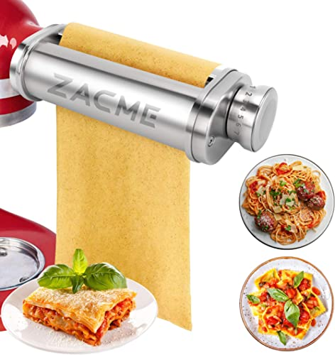Pasta Roller Attachment for KitchenAid Stand Mixers, ZACME Stainless Steel Pasta Maker Machine Accessories, Washable ...