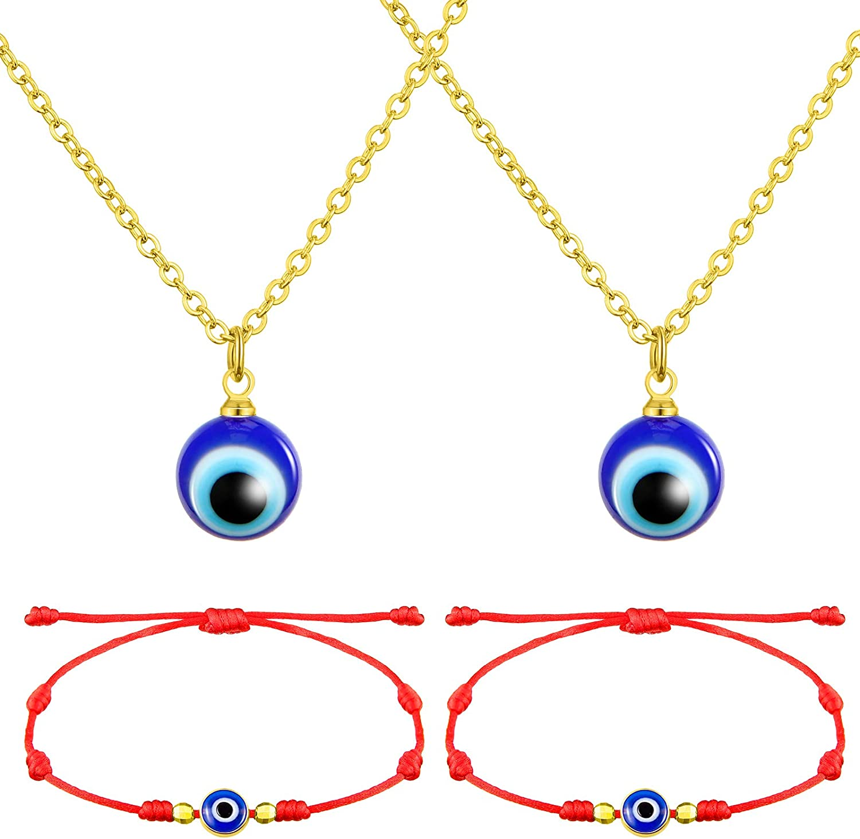 Hicarer 4 Pieces Evil Eye Necklace with Evil Eye Bracelet Set Evil Eye Necklace Chain Turkish Blue Eyes Amulet Pendant Necklace Amulet Lucky Bracelets with Card for Women Men