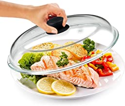 Bezrat Microwave Glass Plate Cover | Splatter Guard Lid with Easy Grip Silicone Handle Knob | 100% Food Grade | BPA Free a...