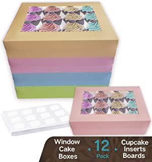 CooKeezz Couture - Window Boxes and Inserts for 12 Cupcakes or Muffins ,14